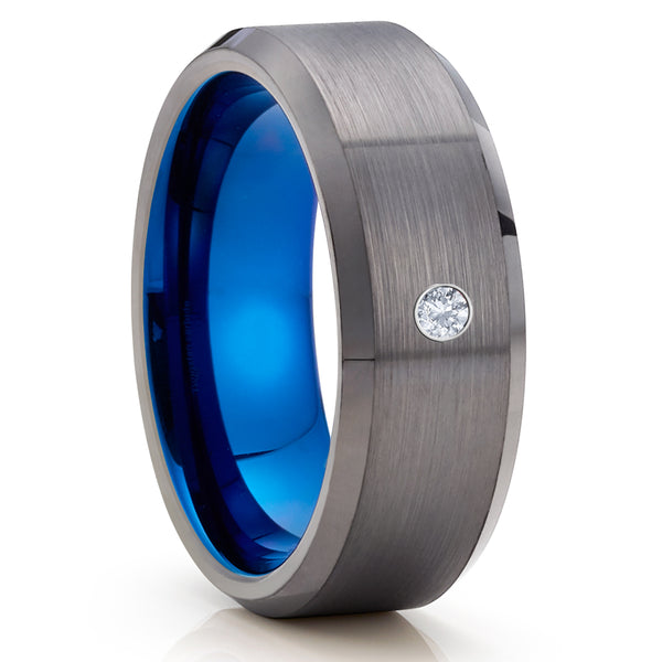 White Diamond Tungsten Ring - Gunmetal Tungsten Ring - Gray Tungsten Ring - Brush - Clean Casting Jewelry