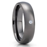 6mm - White Diamond Tungsten Ring - Gunmetal Tungsten Ring - Gray Tungsten