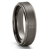 Gunmetal Tungsten Ring - 6mm - 8mm Gray Tungsten Ring - Anniversary Ring - Brush - Clean Casting Jewelry