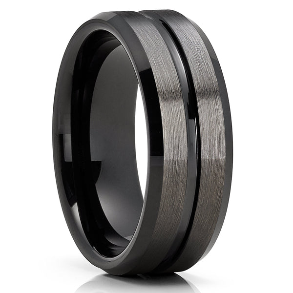 8mm - Black Tungsten Wedding Band - Gunmetal - Black Tungsten Ring - Brush - Clean Casting Jewelry
