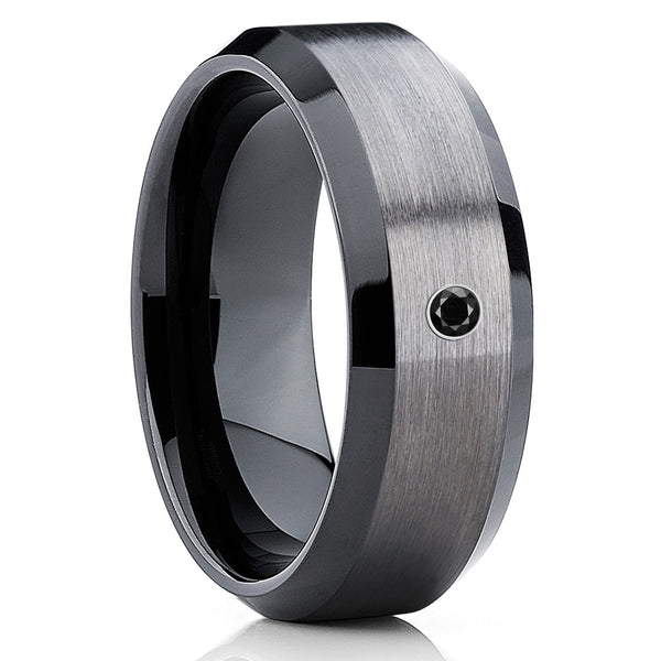 Black Tungsten Ring - Gunmetal Tungsten - Black Diamond Tungsten Band - Clean Casting Jewelry