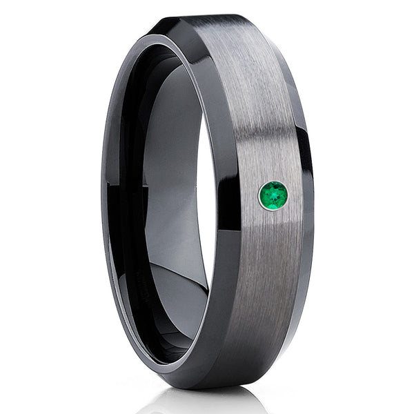 Tungsten Wedding Band - Emerald Ring - Black Tungsten Ring - Gunmetal - Clean Casting Jewelry