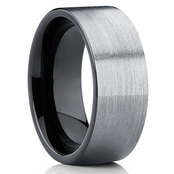 Black Tungsten Wedding Band - Gray Tungsten Ring - Black Wedding Ring - Clean Casting Jewelry