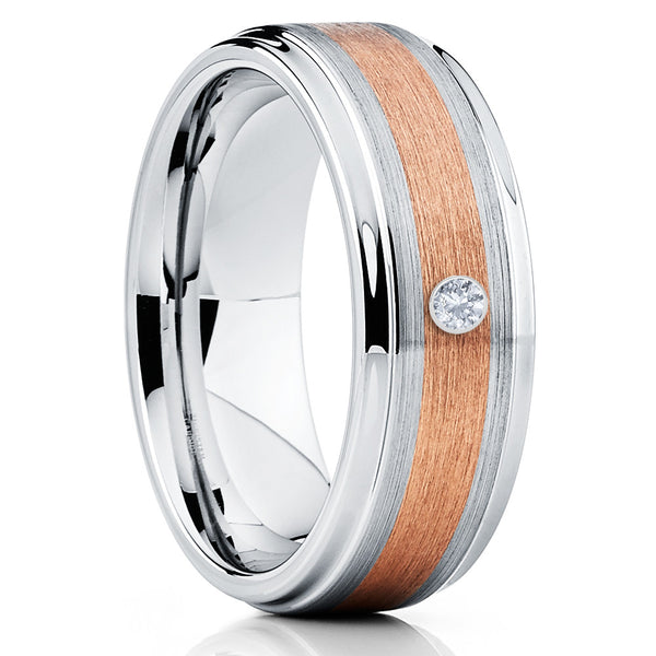 White Diamond Tungsten Ring - Rose Gold - Men's Wedding Band - 8mm - Clean Casting Jewelry