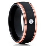 White Diamond Tungsten,Tungsten Wedding Band,Rose Gold Ring,Unisex Tungsten