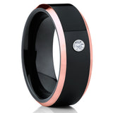 Black Tungsten Ring - Rose Gold Tungsten - White Diamond Ring - Unisex - Clean Casting Jewelry
