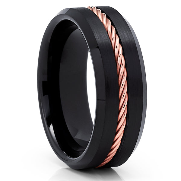 Black Tungsten Ring Rose Gold Braid Black Tungsten Wedding Band Brush