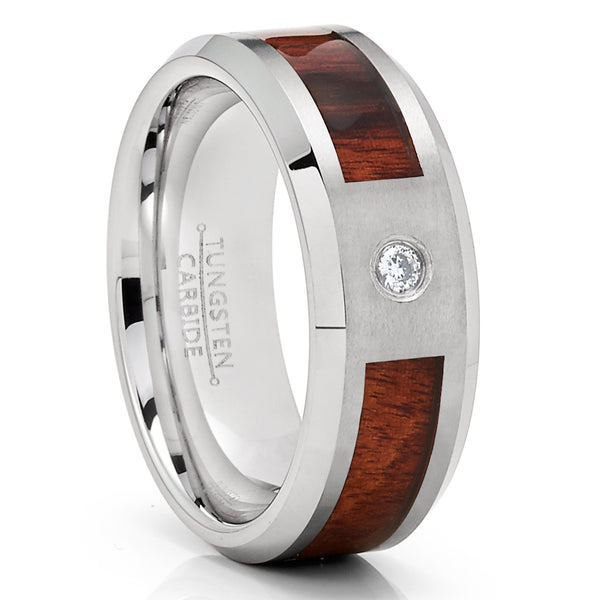 Koa Wood Wedding Band - Tungsten Ring - White Diamond Tungsten - Men's Ring - Clean Casting Jewelry