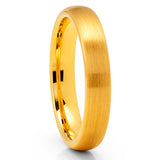 4mm Yellow Gold Tungsten Ring - Tungsten Carbide Ring - Yellow Gold Tungsten
