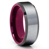 Purple Tungsten Wedding Ring - Gray Tungsten Ring - Purple Wedding Band - Clean Casting Jewelry