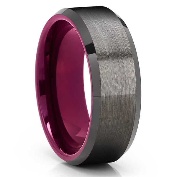 Gunmetal Tungsten Wedding Band - Purple Tungsaten Ring - Purple Tungsten - Clean Casting Jewelry