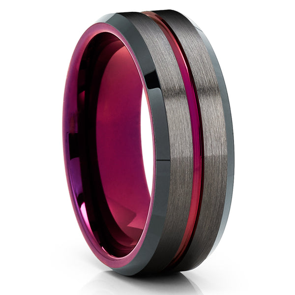 Purple Tungsten Ring - Purple Wedding Ring - Gunmetal Tungsten Ring - Brush - Clean Casting Jewelry