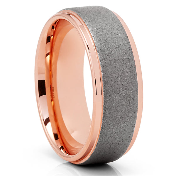Rowe Gold Tungsten Wedding Band - 8mm - Gray Tungsten Ring - Brush Ring - Clean Casting Jewelry