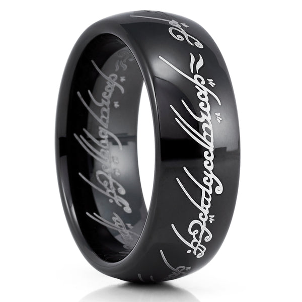Lord Of The Ring - Tungsten Wedding Band - Black Tungsten Ring - 8mm Ring - Clean Casting Jewelry
