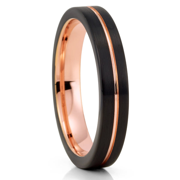 4mm - Rose Gold Tungsten Ring - Black Tungsten Ring - Women's Tungsten Ring - Clean Casting Jewelry