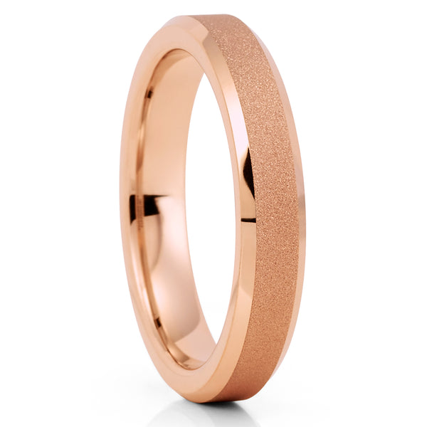 4mm - Rose Gold Tungsten Ring - Rose Gold Tungsten Band - Women's Ring - Clean Casting Jewelry