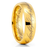 Lord Of The Rings - 6mm - Yellow Gold Tungsten Rings - Tungsten Wedding Ring