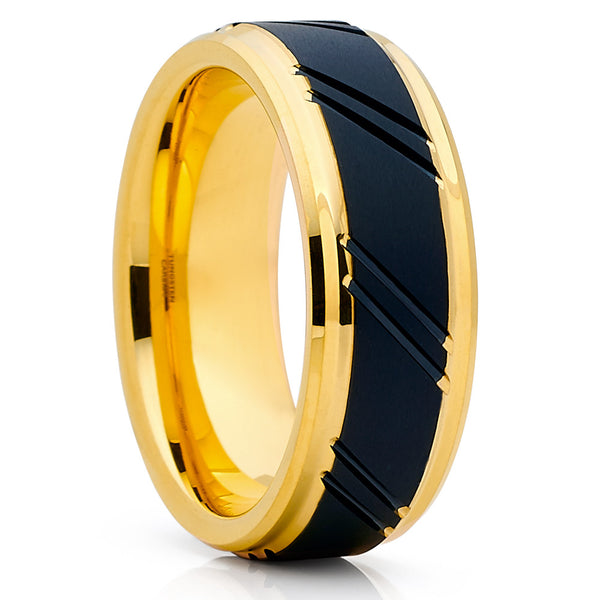 Men's Wedding Band - Yellow Gold Tungsten - Yellow Gold Tungsten Ring - Clean Casting Jewelry
