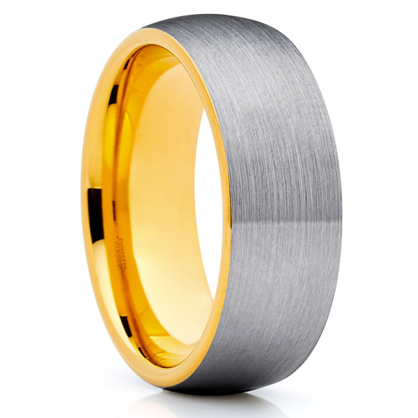 8mm,Gray Brushed Tungsten Ring,Tungsten Carbide Ring,Yellow Gold Tungsten