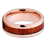 8mm - Koa Wood Wedding Band - Rose Gold - Tungsten Wedding Ring