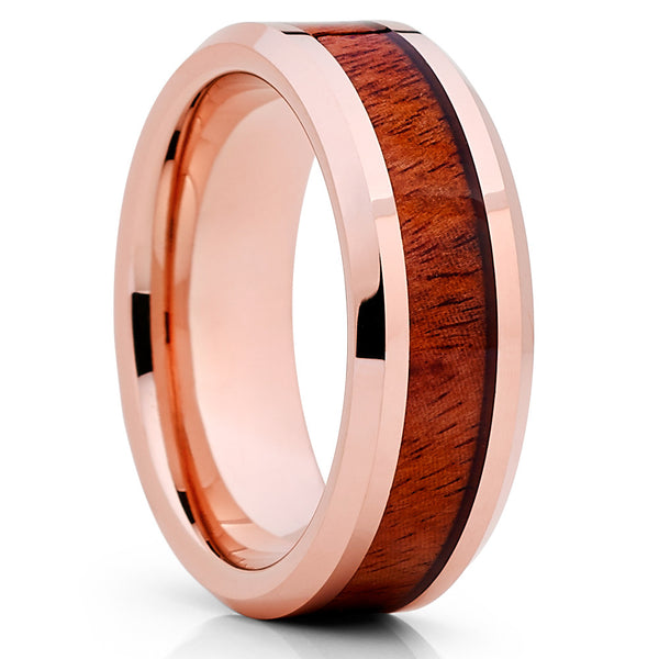 Koa Wood Tungsten Ring - Rose Gold Tungsten Ring - 8mm - Tungsten Ring - Clean Casting Jewelry