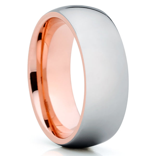 Rose Gold Tungsten - Shiny Polish - Tungsten Wedding Band - Dome - Clean Casting Jewelry