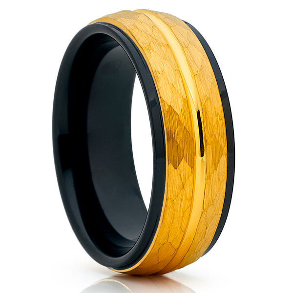 8mm,Yellow Gold Tungsten,Hammered,Dome Ring,Tungsten Wedding Band