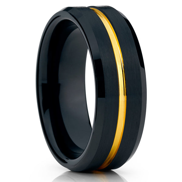 Black Wedding Band - Black Tungsten Ring - Yellow Gold Groove - 8mm - Men's