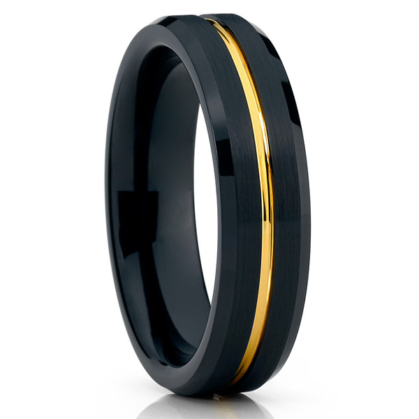 Yellow Gold Tungsten Ring - Black Black Tungsten Ring - 6mm - Brush - Clean Casting Jewelry