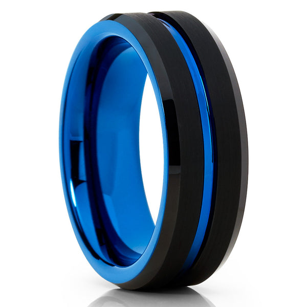 Blue Tungsten Wedding Band - Black - Men's Tungsten - Blue Tungsten Ring - Clean Casting Jewelry