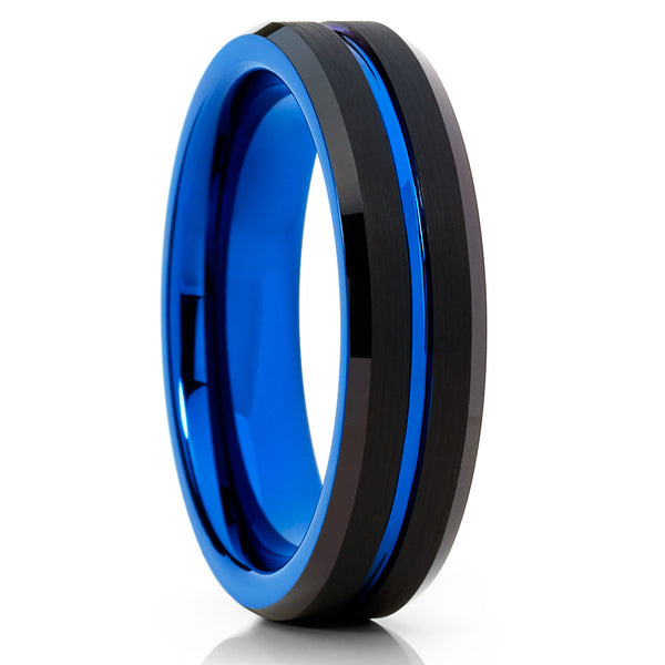 6mm - Blue Tungsten Wedding Band - Black Tungsten Ring - Blue Ring - Clean Casting Jewelry