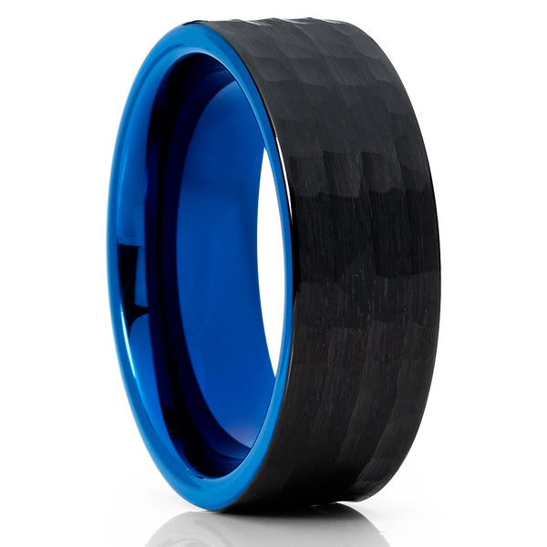 Blue Tungsten Wedding - Hammered - Black Tungsten Ring - Brush - 8mm - Clean Casting Jewelry