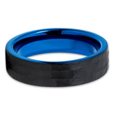 6mm - Blue Tungsten Ring - Hammered - Blue Tungsten Band - Black - Clean Casting Jewelry