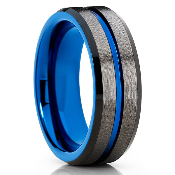 8mm - Blue Tungsten Ring - Blue Wedding Band - Gunmetal Ring - Gray - Clean Casting Jewelry