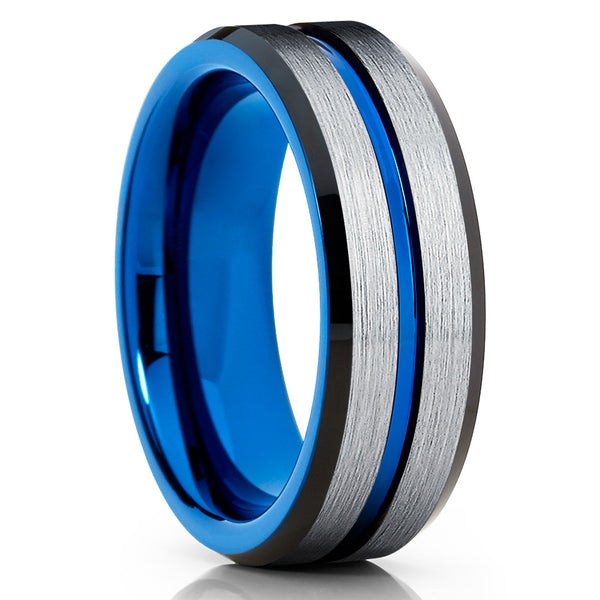 8mm,Blue Brushed Tungsten Ring,Tungsten Wedding Ring,Blue Tungsten Band