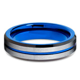 6mm,Blue Tungsten Ring,Tungsten Carbide Ring,Blue Tungsten Band,Unique,Brushed