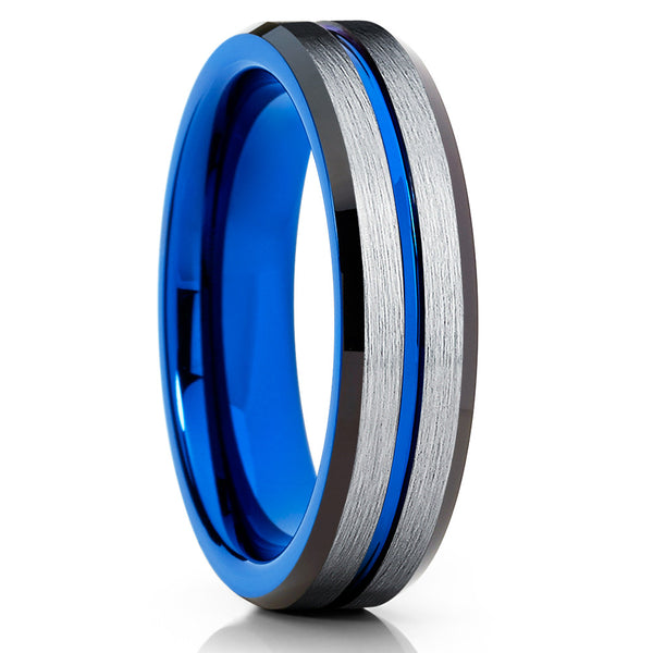 6mm - Blue Tungsten Ring - Tungsten Wedding Band - Blue Tungsten - Clean Casting Jewelry