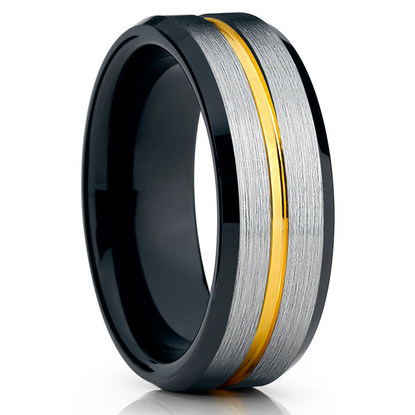 Black Tungsten Wedding Band - Yellow Gold Tungsten Ring - 8mm - Brush - Clean Casting Jewelry