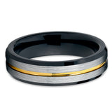 6mm - Yellow Gold Tungsten Ring - Black Tungsten - Silver Brush - Unique - Clean Casting Jewelry