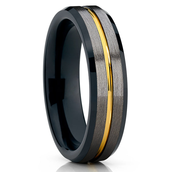 6mm - Yellow Gold Tungsten Ring - Gunmetal - Black Tungsten Ring - Clean Casting Jewelry