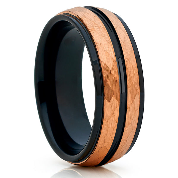 8mm - Rose Gold Tungsten Ring - Tungsten Wedding Band - Hammered Ring - Clean Casting Jewelry