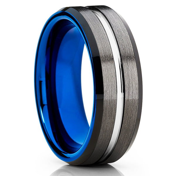 Blue Tungsten Ring - 8mm - Gunmetal Tungsten - Gray Tungsten Ring - Clean Casting Jewelry