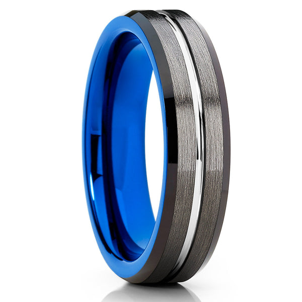 Blue Tungsten Band - Gray Tungsten Ring - 6mm - Black Tungsten Ring - Clean Casting Jewelry
