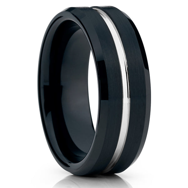 Black Tungsten Wedding Band - 8mm Ring - Tungsten Wedding Ring Brushed - Clean Casting Jewelry