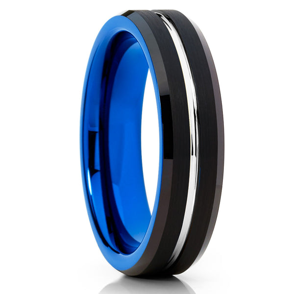 6mm -  Blue Tungsten - Black Brushed - Tungsten Wedding Band - Unique - Clean Casting Jewelry