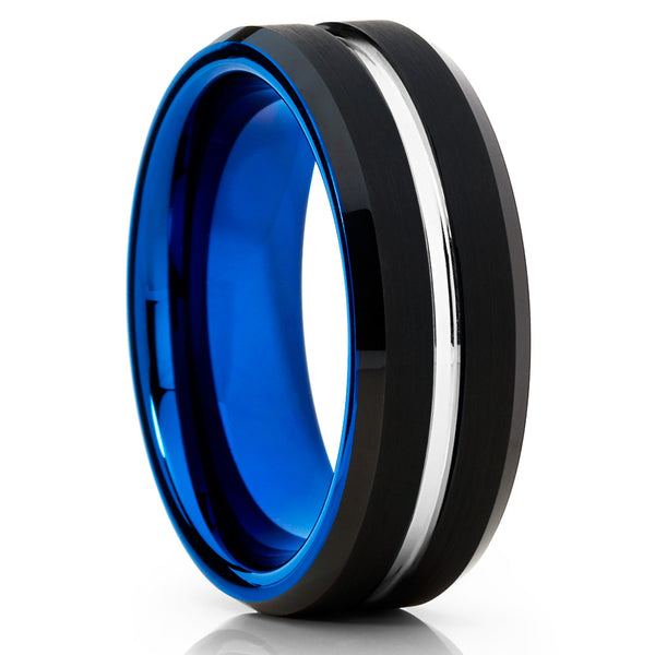 Blue Tungsten Wedding Band - Black Tungsten - Unisex Ring - Blue Tungsten - Clean Casting Jewelry