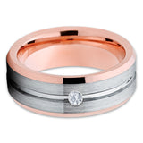 White Diamond Tungsten Ring - Grey Wedding Band - Rose Gold Tungsten - Clean Casting Jewelry