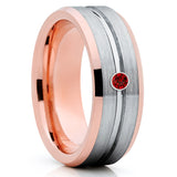 Ruby Tungsten Wedding Band - Rose Gold Tungsten Ring - Gray Tungsten Ring - Clean Casting Jewelry