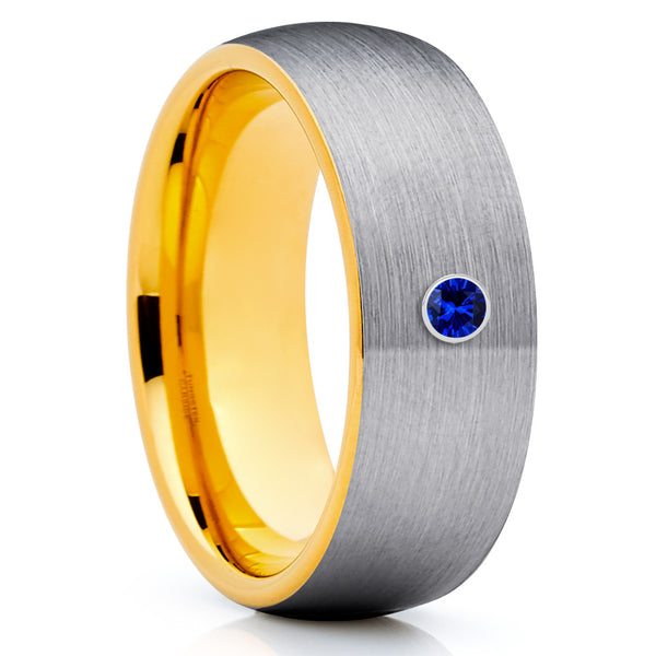 Yellow Gold Tungsten Ring - Gray Wedding Band - Blue Sapphire Ring - Brush - Clean Casting Jewelry