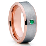 Rose Gold Tungsten Ring - Emerald Tungsten Band - Gray Tungsten Ring - 8mm - Clean Casting Jewelry